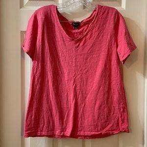 Splendid Hot Pink Short Sleeve V Neck Tee L